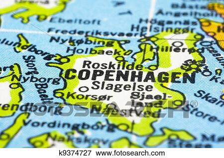 Picture of close up of Copenhagen on map Denmark k9374727 Search