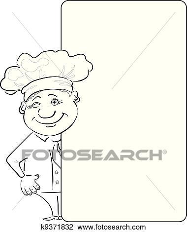 Clipart - koch, aussehen, heraus, dass, plakat, kontur k9371832 ...   {Koch bei der arbeit clipart 57}