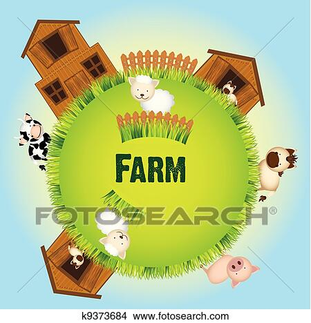 Clipart Of Farm Animals And Barn K9373684