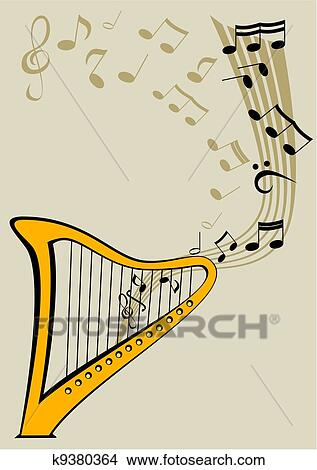 Clipart of Harp and notes k9380364 - Search Clip Art, Illustration ...
