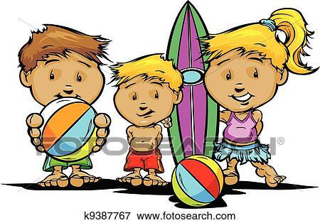 kids swimming at beach clipart. clip art summer beach or swimming pool kids vector image fotosearch search clipart at