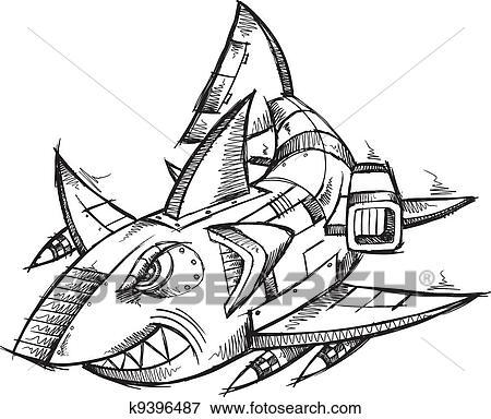 地乱写乱画, 机器人, cyborg, 鲨鱼
