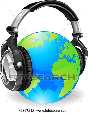 Clipart of World globe music headphones k9397212 - Search Clip Art ...