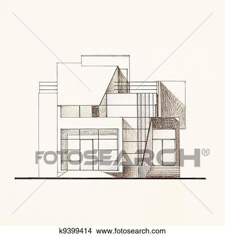 图吧- 建筑, 正面, 蓝图, 在中, a, 现代, 房子.