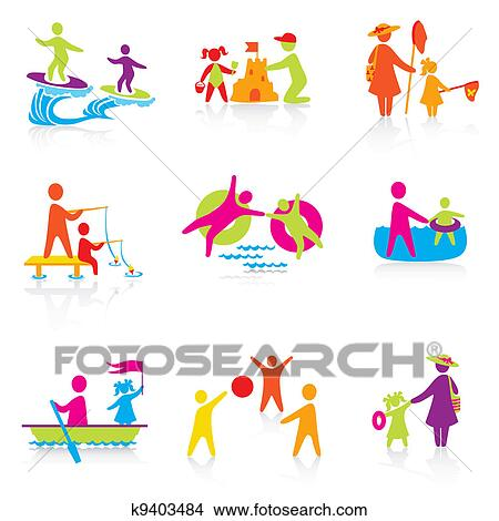 Clipart of Set of Icons - Summer Time - Silhouette family. woman ...
