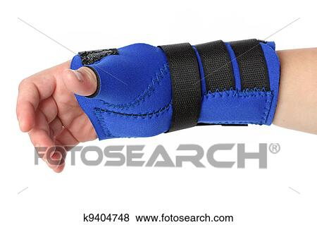 pictures of human hand with a wrist brace orthopedic equipment over white k9404748 search. Black Bedroom Furniture Sets. Home Design Ideas