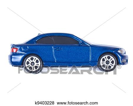 Picture   Miniature Blue Toy Car On White Background. Fotosearch   Search  Stock Photos,