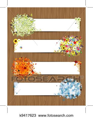 Clipart of Four seasons - spring, summer, autumn, winter ...