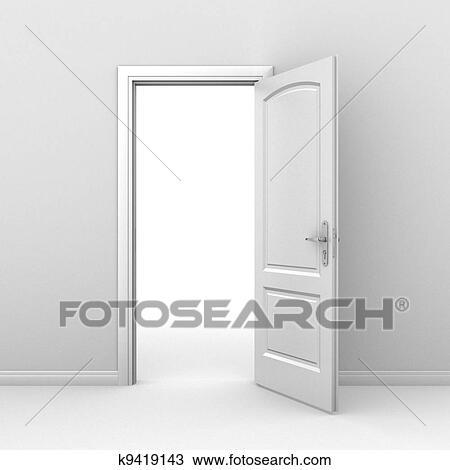 Dessin porte ouverte sur blanc k9419143 recherchez for Porte ouverte dessin