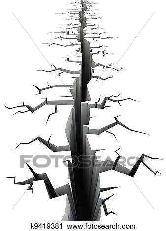 Clipart of earthquake ground crack k9419381 - Search Clip ...