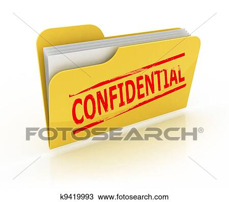 Drawing of confidential folder icon k9419993 - Search Clipart ...