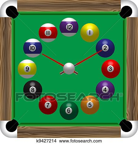 Clipart Of Billiards Table Clock K9427214