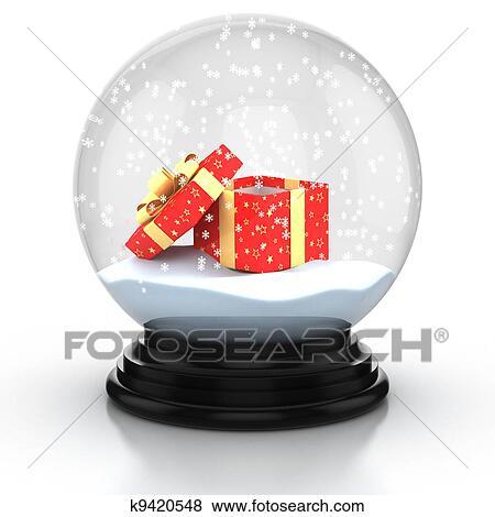 banque d 39 illustrations ouvert bo te cadeau dans les coupole neige k9420548 recherche de. Black Bedroom Furniture Sets. Home Design Ideas