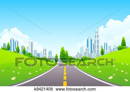 Clipart of City Landscape with Trees and Road k9421405 ...