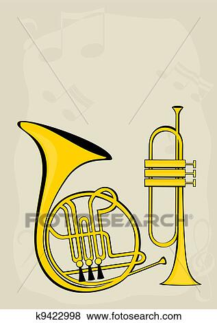clip art of french horn trumpet and notes k9422998