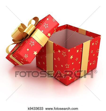 手绘图 - 打开, 红, 礼物盒子