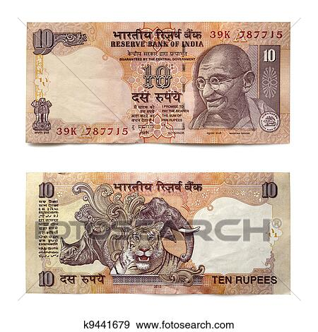 Rupee Note Vector Indian Ten Rupee Note Front