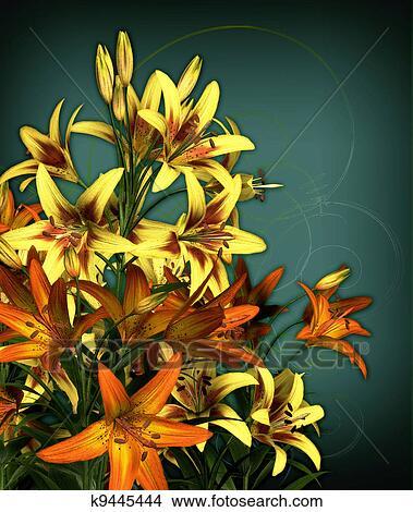 绘画/图画 - 花束, 在中, 百合花 k9445444 - 搜寻