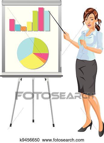 Clipart of Businesswoman Presentation k9456650 - Search Clip Art ...