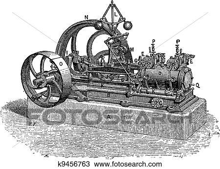 手绘图 - 水平, 蒸汽机
