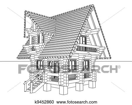 Good Stock Illustration   Wooden House Drawing. Fotosearch   Search Clipart,  Illustration Posters, Drawings