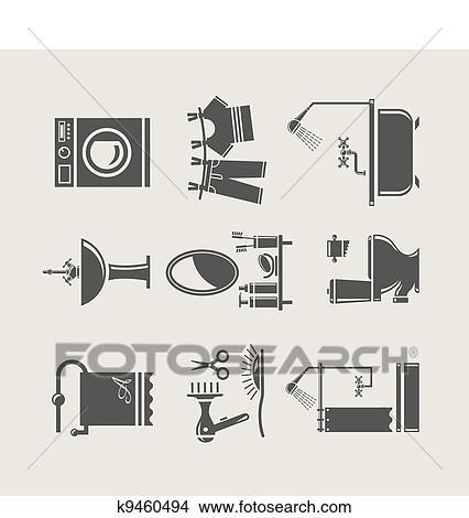 clipart badezimmer ausr stung satz symbol k9460494 suche clip art illustration. Black Bedroom Furniture Sets. Home Design Ideas