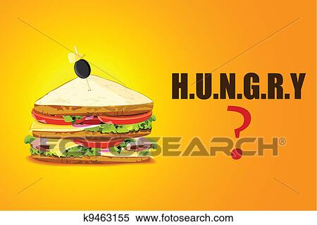 clipart of yummy sandwich in hugry background k9463155