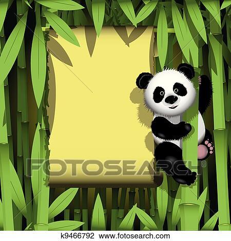 描述, 好奇, 熊猫, 在上, 茎干, 在中, the, 竹子