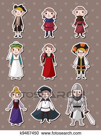 Clipart dessin anim moyen ge gens autocollants k9467450 recherchez des clip arts des - Dessins moyen age ...