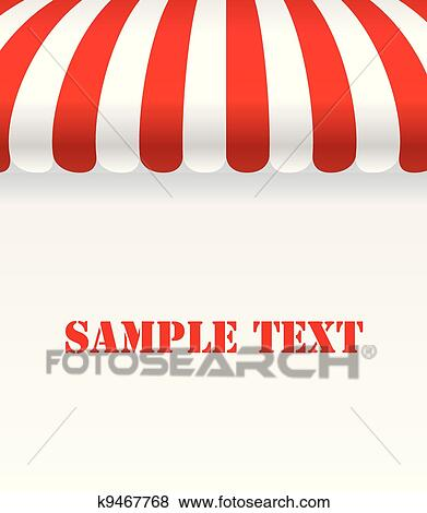 Clip Art - Red and white strip shop awning with space. Fotosearch ...