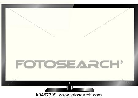 Clip Art of Silver Led or Lcd TV k9467799 - Search Clipart ...