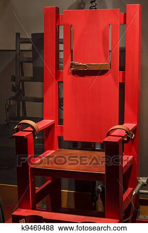 Pictures of Antique Electric Chair with Leather Straps k9469488 ...