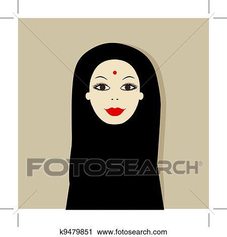 clipart of arabic woman portrait for your design k9479851