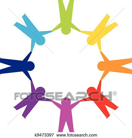 clip art of paper people in circle holding hands k9473397 search rh fotosearch com Cartoon People Holding Hands Cartoon People Holding Hands