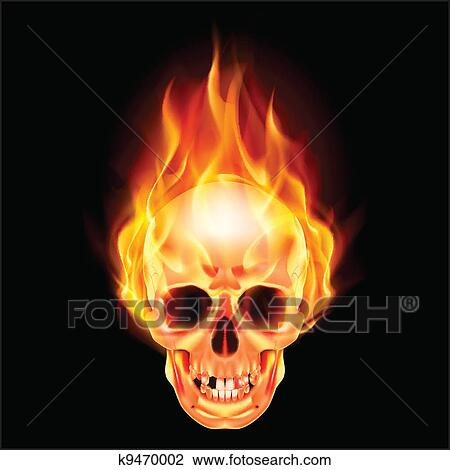 Clipart of scary skull on fire k9470002 search clip art scary skull on fire illustration on black background voltagebd Choice Image