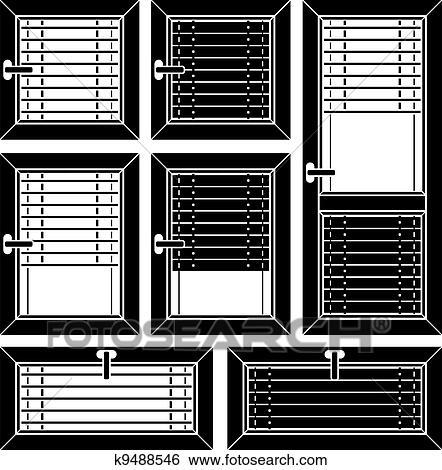 clipart vecteur store v nitien fen tre noir symboles k9488546 recherchez des cliparts. Black Bedroom Furniture Sets. Home Design Ideas