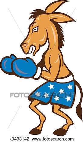 clipart of donkey jackass boxing stance k9493142 search clip art rh fotosearch com Jackass Clip Art Black and White Jackass Animal