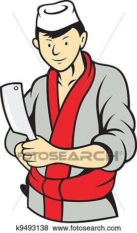 clipart japonaise charcutier tenue fendoir viande couteau k9493138 recherchez des. Black Bedroom Furniture Sets. Home Design Ideas