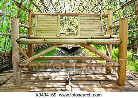 coleccin de fotografa silla hecho de bamb en jardn de bamb para plan