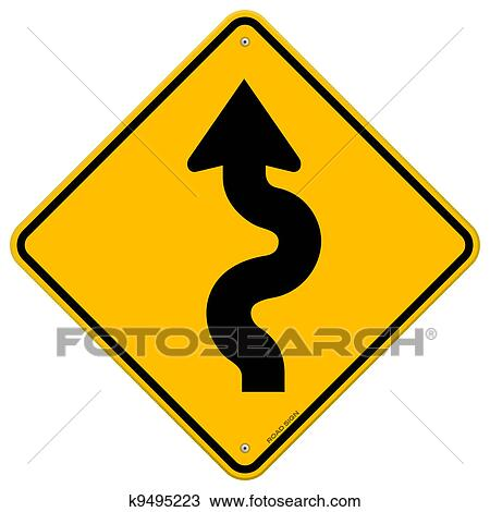 clipart of winding road sign k9495223 search clip art rh fotosearch com road clipart images road clipart png
