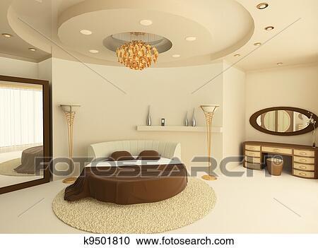 banque d 39 illustrations rond lit a plafond suspendu dans a luxueux chambre coucher. Black Bedroom Furniture Sets. Home Design Ideas