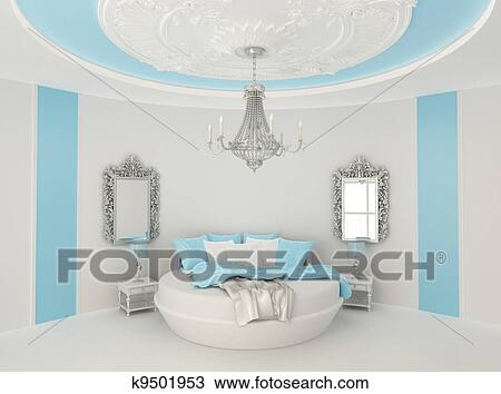 Tekening ronde bed in barok interior luxueus meubel in blauwe kamer k9501953 zoek - Blauwe kamer kind ...