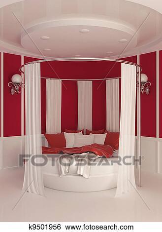 stock illustration runder bett mit vorhang in. Black Bedroom Furniture Sets. Home Design Ideas