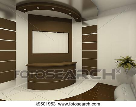 dessin bureau r ception dans salle moderne k9501963 recherchez des cliparts des. Black Bedroom Furniture Sets. Home Design Ideas