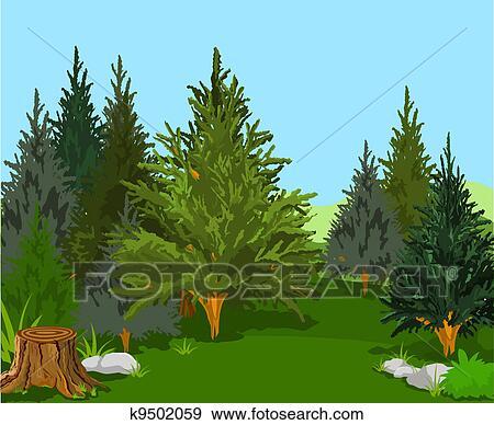 Clip Art of Forest Landscape k9502059 - Search Clipart ...