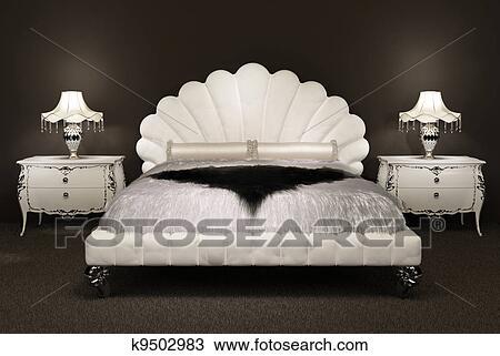 Tegning   moderne, seng, med, pelsaktig, bedspread, og, lampe, på ...