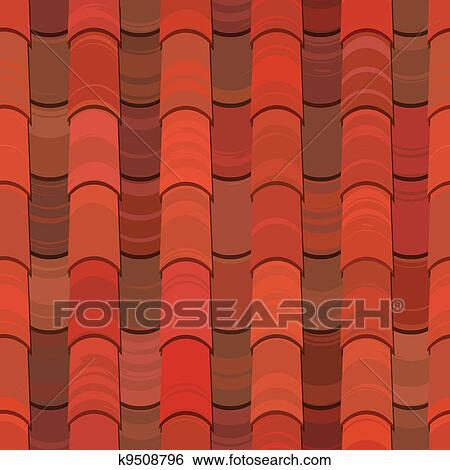 Clip Art Of Seamless Red Clay Roof Tiles K9508796 Search