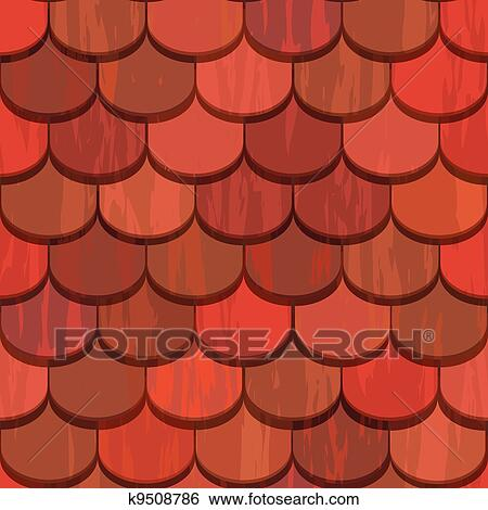 Clip Art Of Seamless Red Clay Roof Tiles K9508786 Search