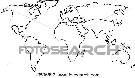 Clip art of world continents k9506897 search clipart illustration world map with continents vector outline map gumiabroncs Image collections
