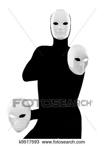 Stock Photo of performer mime with mask k9517593 - Search ...
